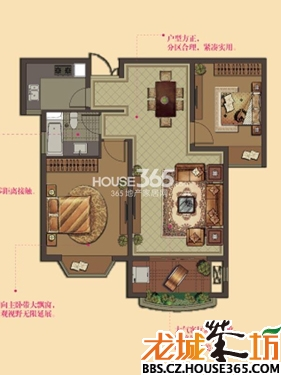 W3户型-2房2厅1卫-88平