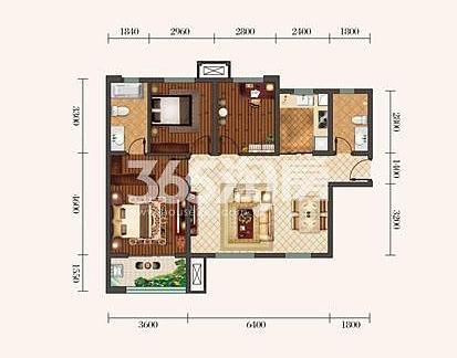 金泰丝路荟A1户型三室两厅114平米