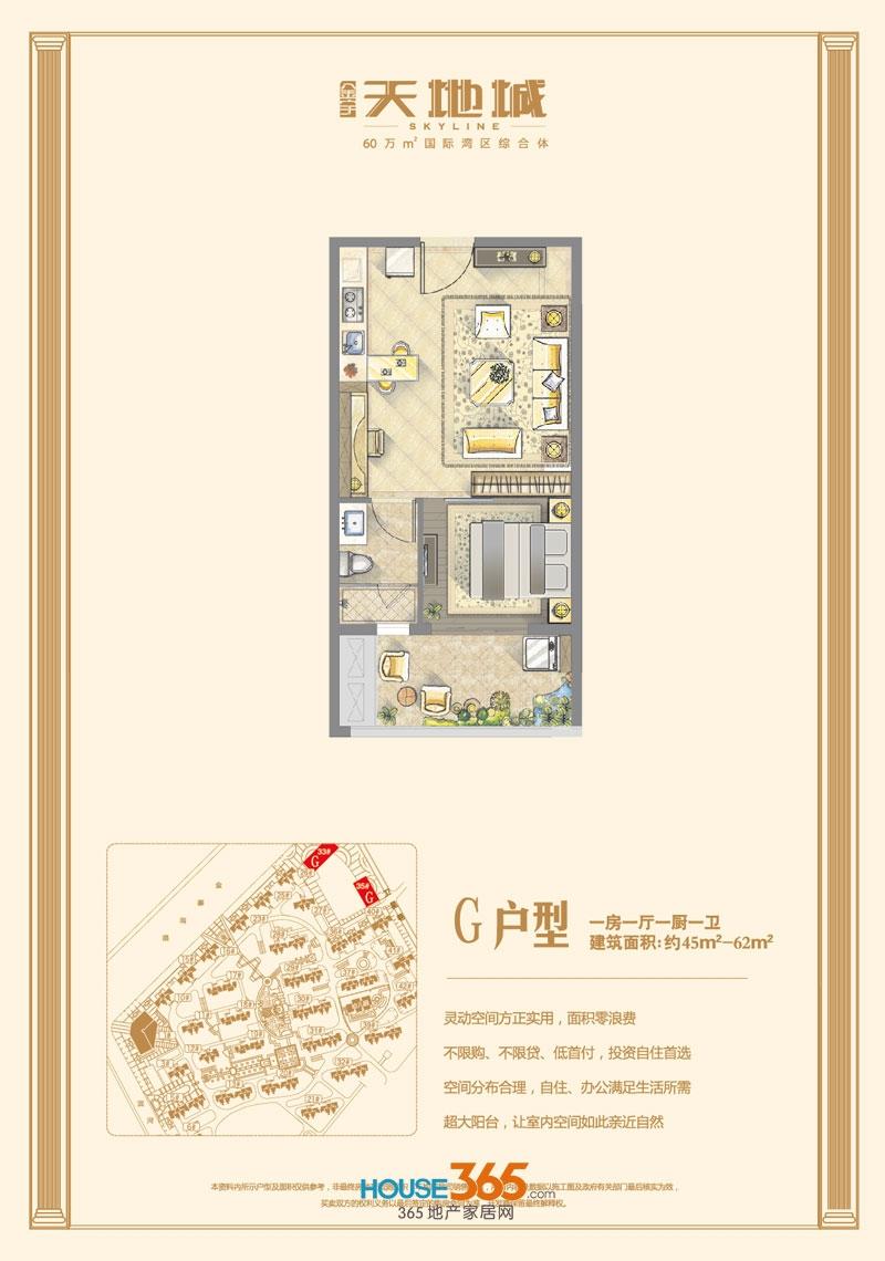 金宇天地城G户型(约45-62平米)