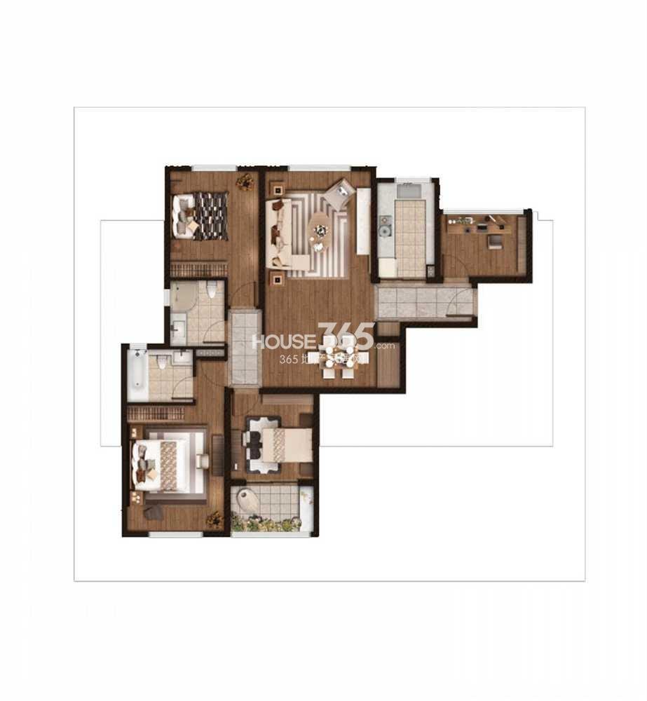 仁恒绿洲新岛1、2、3号楼标准层C户型 138平方米