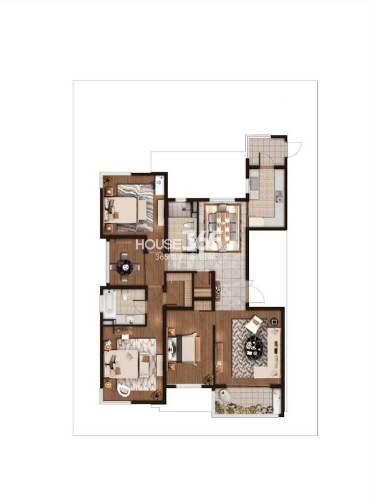 仁恒绿洲新岛1、2、3号楼标准层D户型 169平方米