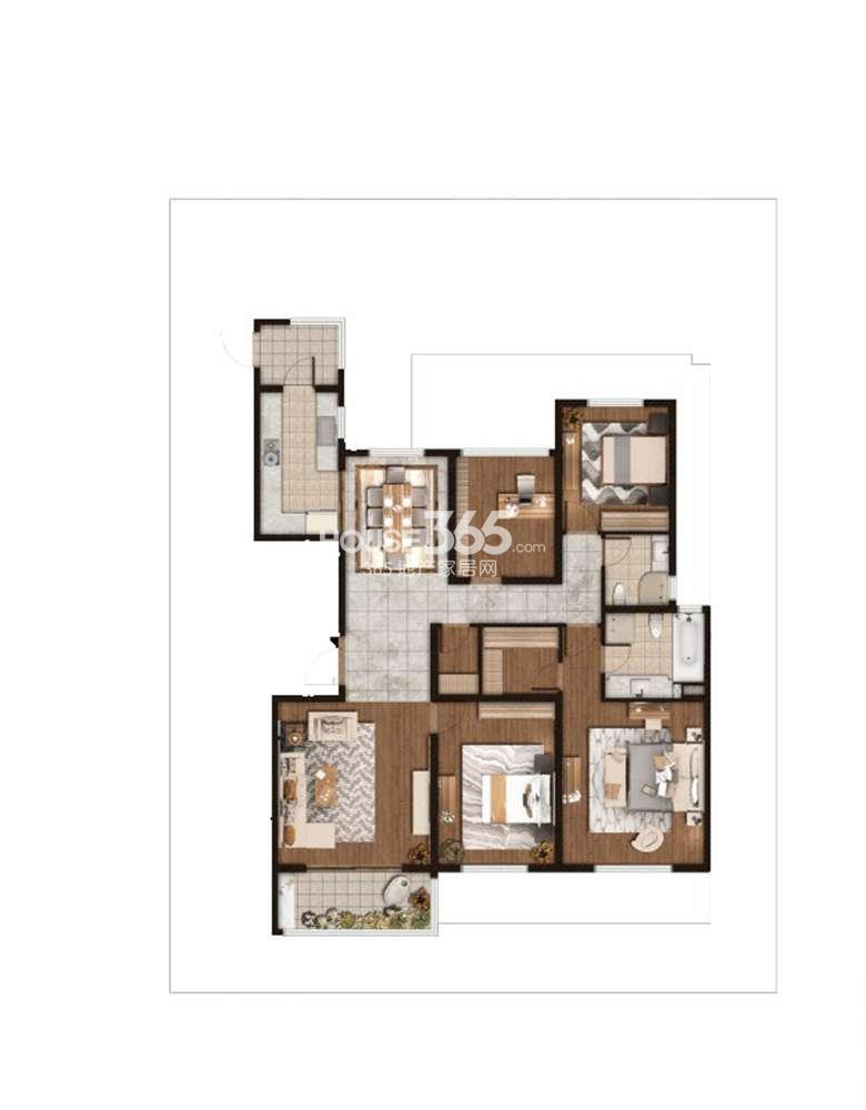 仁恒绿洲新岛1、2、3号楼标准层E户型181平方米