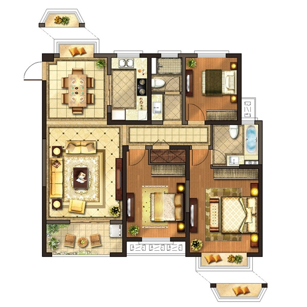 红豆人民路九号8#楼C户型134平户型图