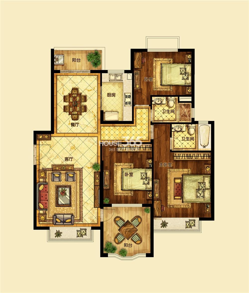 恒大翡翠华庭1期标准层D户型 三房两厅两卫
