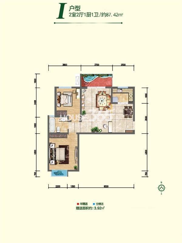 融尚中央住区8#楼I户型两室两厅一厨一卫87.42㎡