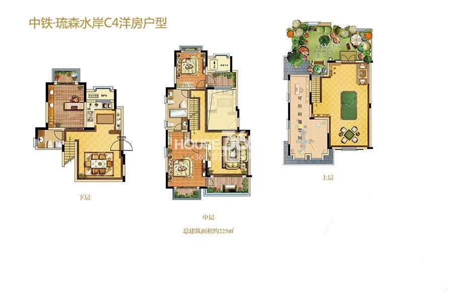 中铁琉森水岸洋房户型C44室2厅2卫1厨225㎡