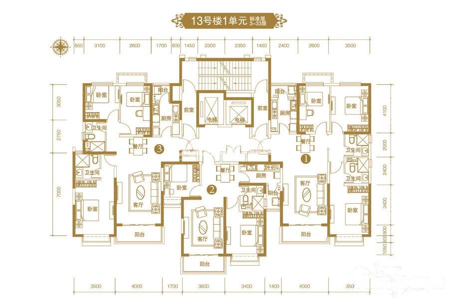 恒大御景半岛13号楼一单元平面图