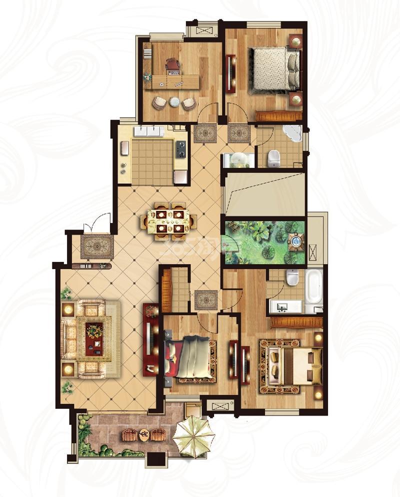 冠城大通蓝湾二期洋房H2户型 162平米4+1百变空间2厅2卫