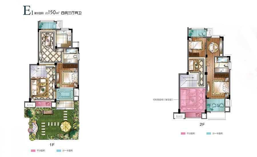 中科鑫控俪珠华庭叠加别墅1-7#E1户型四房三厅两卫 150平米