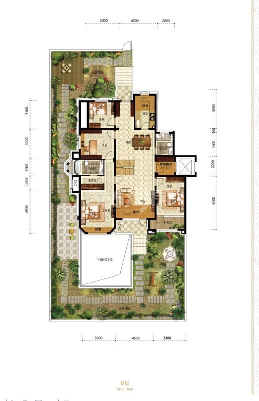 万锦香樟树A户型159.74㎡首层5室4厅2卫
