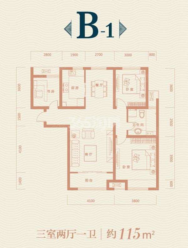 保利领秀山B1户型图 3室2厅1卫