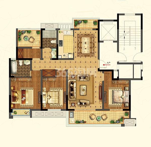 招商雍和苑高层A2户型139㎡4室2厅2卫