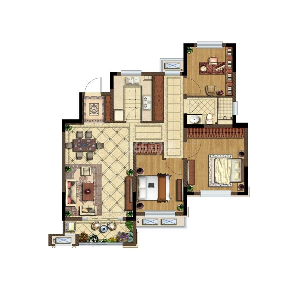 金地湖城艺境洋房6层户型图105㎡