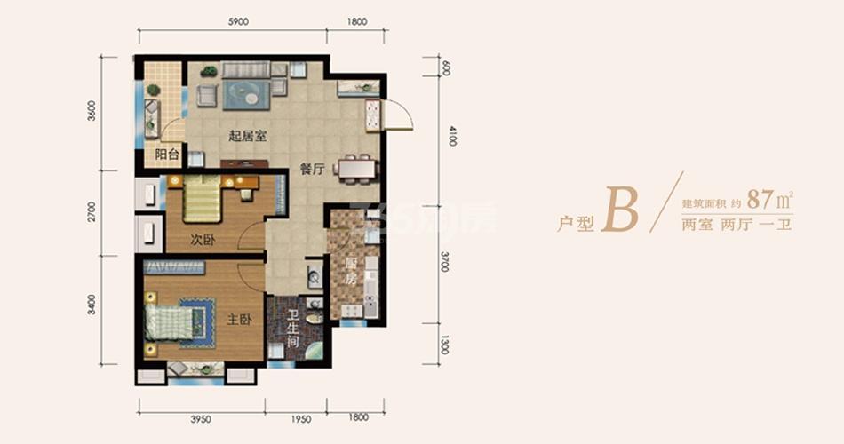 B户型 2室2厅1卫 87㎡
