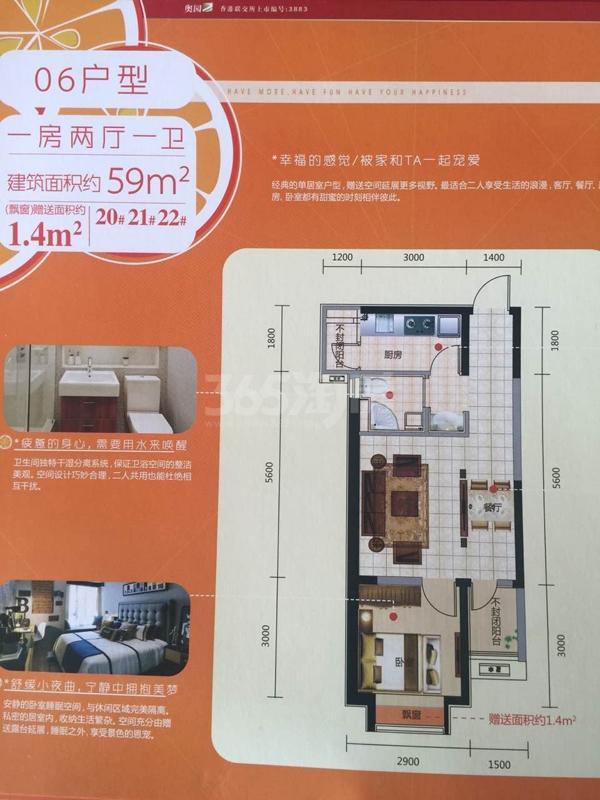 奥园会展广场 一室两厅一卫 59平米