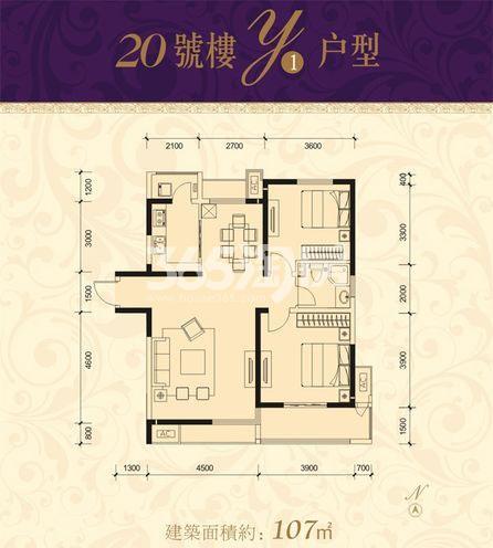 恒基碧翠锦华20号楼Y1户型2室2厅1厨1卫107.00㎡