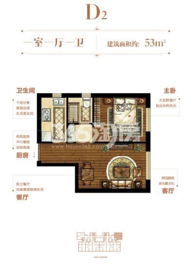 D2户型 1室1厅1卫 53平米