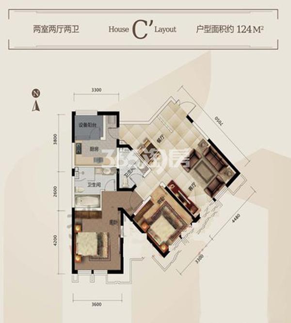 一期C'户型 3室2厅2卫 124平米