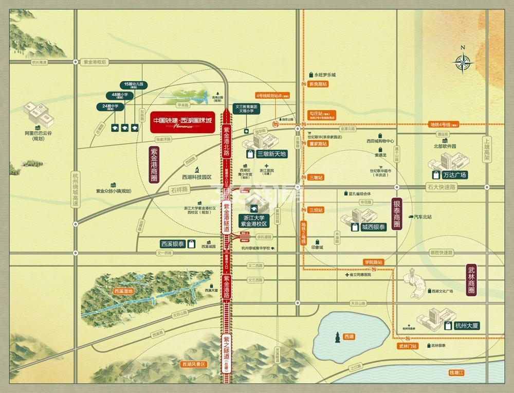 中国铁建西湖国际城交通区位图