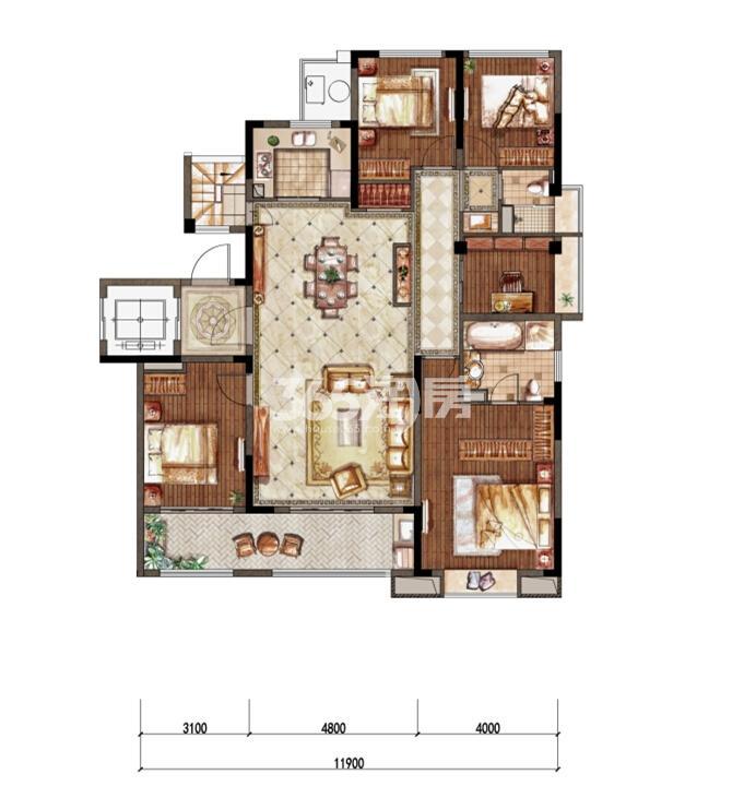1-3洋房二层东边01室B-1户型 149㎡