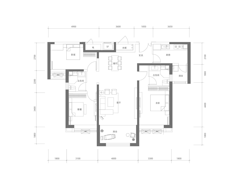 T3B-1户型 三室两厅一厨两卫 建筑面积约·124㎡