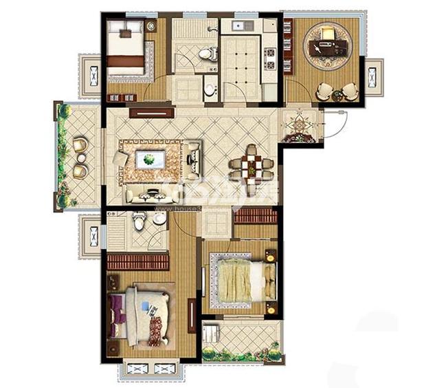 金浦紫御东方项目126㎡户型图4室2厅1厨2卫