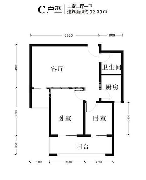 景寓学府一二期6号楼92.33㎡2室2厅1厨1卫C户型