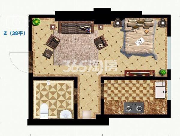 御笔城市广场38平米一室一厅一卫一厨