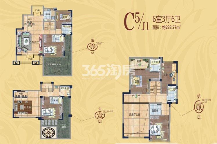 国润城洋房6室3厅6卫1厨233.27平米户型