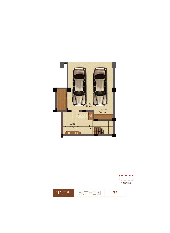 祥生群贤府联排H2户型地下室 138.17㎡