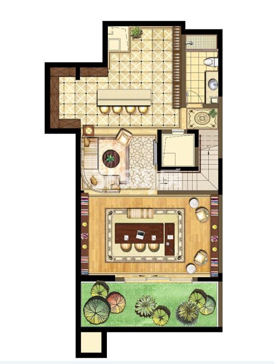 瑞安翠湖山西边01室A1户型地下层
