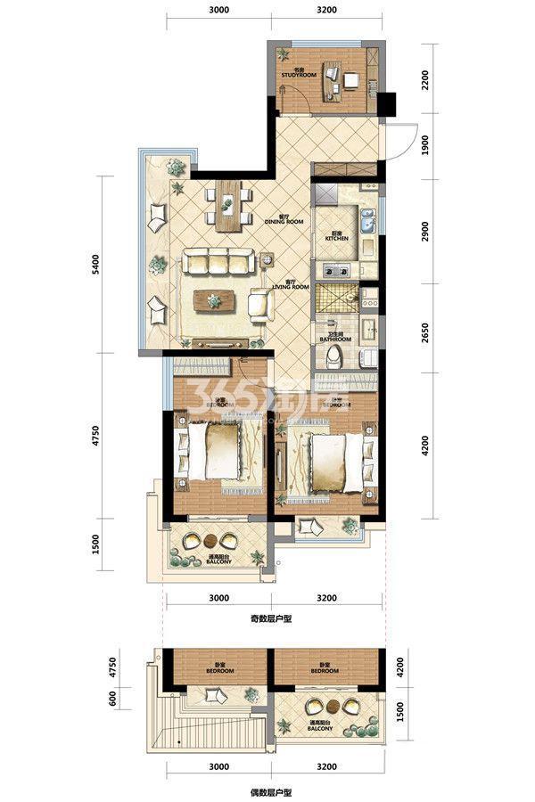长龙领航城88方边套户型图(7#)