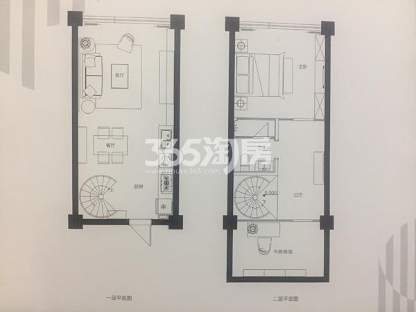 理想商业中心50㎡两室两厅一卫户型图