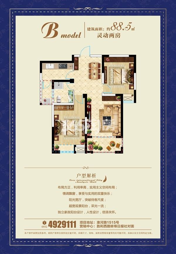 金伟熙城观邸 B两室两厅一卫88.5㎡