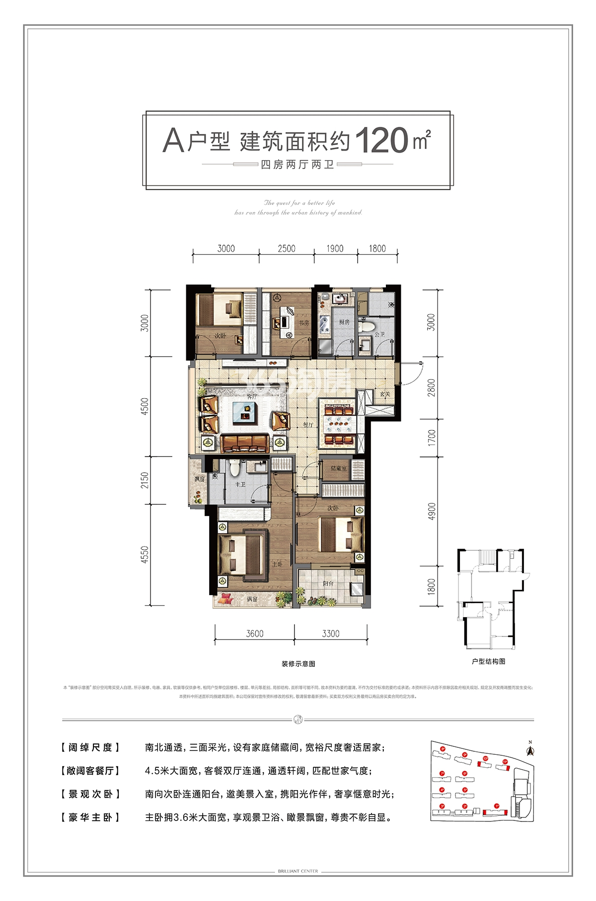 汇高栢悦中心1、10、11号楼A户型120方户型图