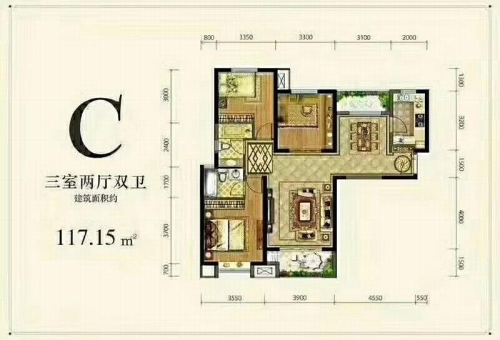 德杰状元府邸C户型三室两厅一厨两卫117.15㎡