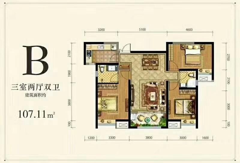 德杰状元府邸B户型三室两厅一厨一卫107.11㎡