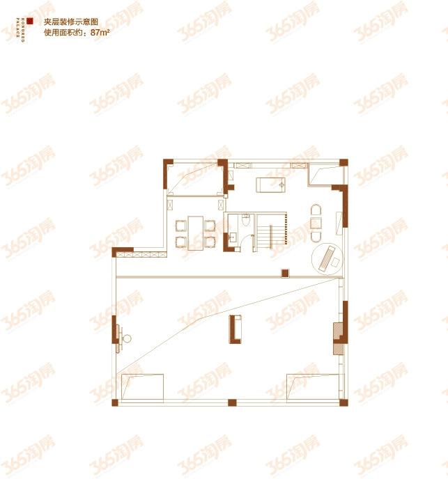 首层院墅户型图——夹层装修示意图
