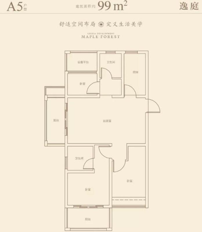 星叶枫庭A5户型图99㎡