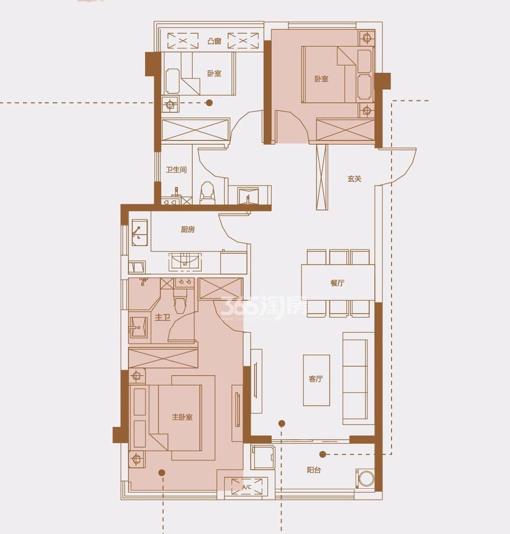 安建翰林天筑99㎡C户型三室两厅