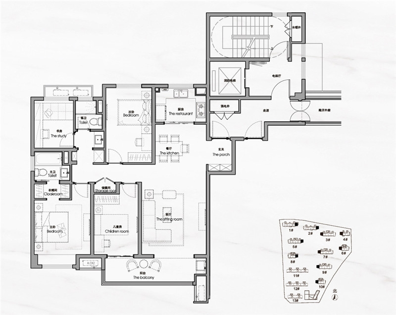D户型约140㎡四室两厅两卫