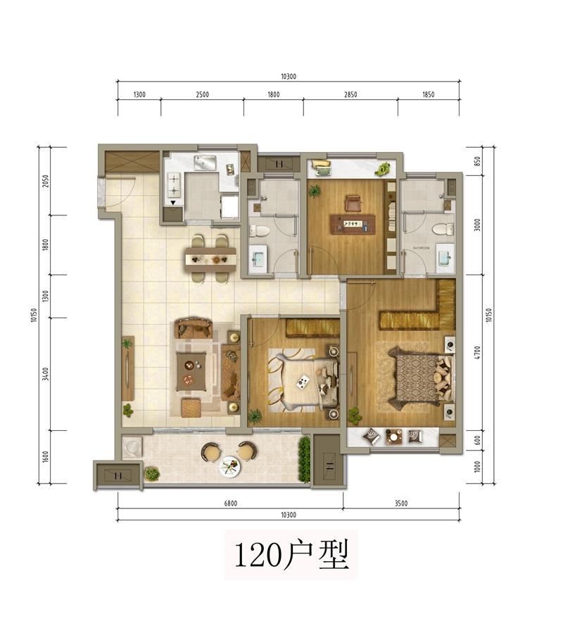 120㎡三室两厅两卫