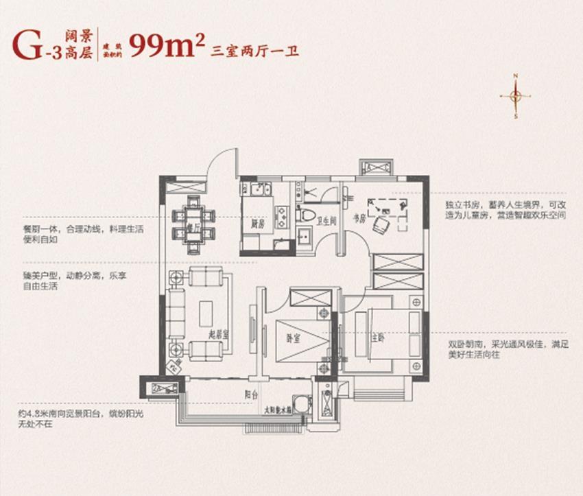 乐富强悦融湾99㎡户型图